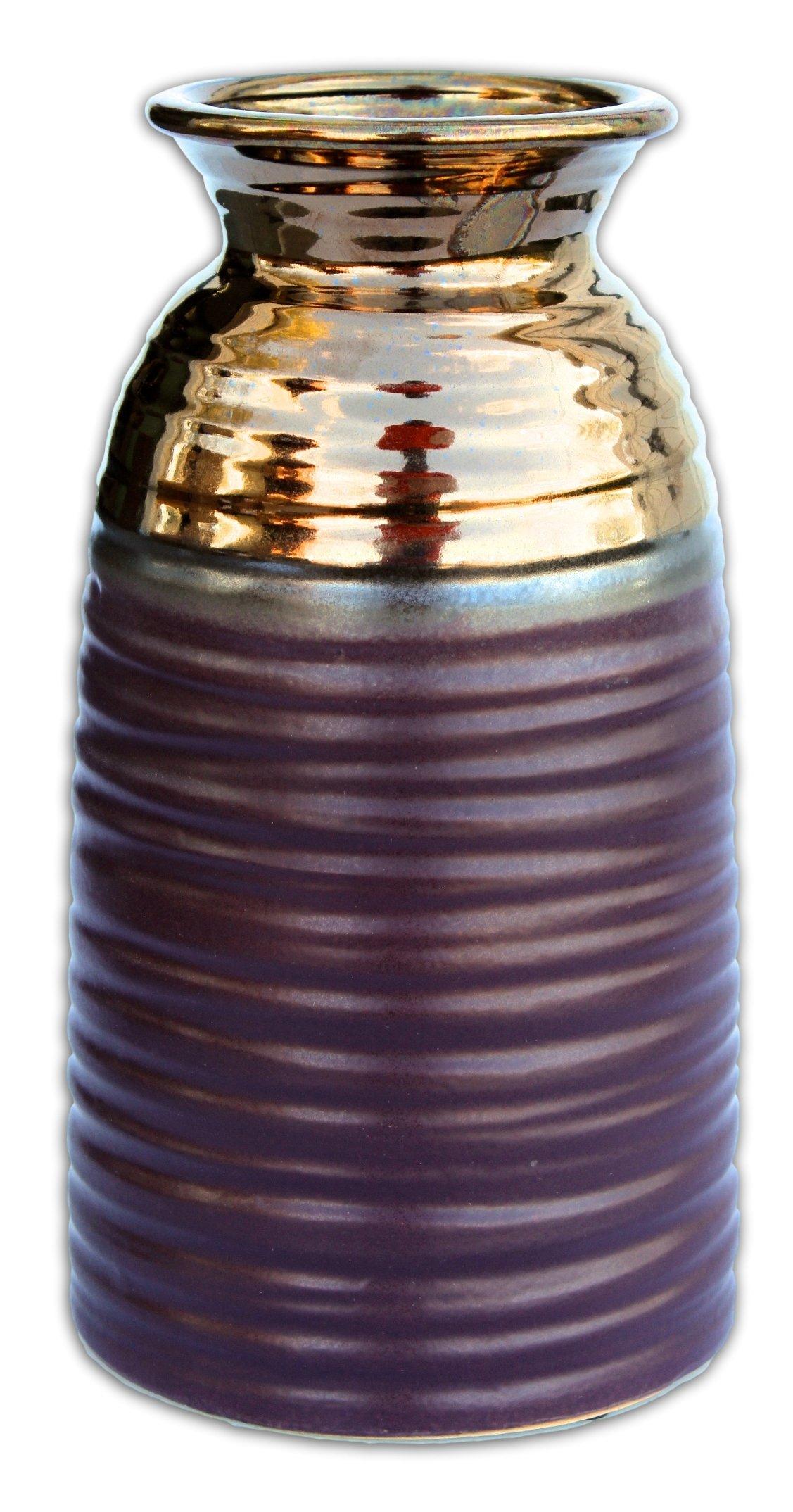 MayRich 9'' Matte Purple and Metallic Bronze Porcelain Vase -  - vases, kitchen-dining-room-decor, kitchen-dining-room - 81l vjX521L -