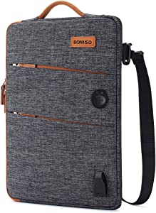 "DOMISO 14 Inch Waterproof Laptop Bag Canvas with USB Charging Port Headphone Hole for 14"" Laptops/Apple/Acer Chromebook 14 / HP Pavilion 14 Stream 14 / Lenovo/Dell/ASUS/MSI, Dark Grey"