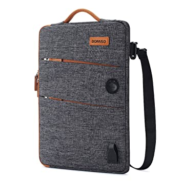 DOMISO 10.1 inch Waterproof Laptop Sleeve Canvas with USB Charging Port Headphone Hole for 10.1-10.5 inch Laptops/eBooks / Tablets/iPad Pro/iPad ...