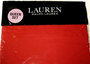 Ralph Lauren Admiral Red Dunham Sateen Sheet Set, Queen Size