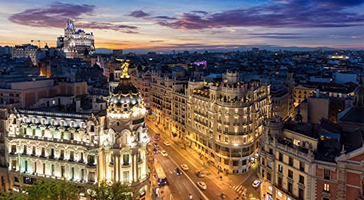 Rompecabezas Rompecabezas 1000 Piezas Puzzles El Skyline De Madrid España De Noche Donde Se Encuentran La Gran Vía Y La Calle Alcalá Puzzle DIY Art: Amazon.es: Hogar