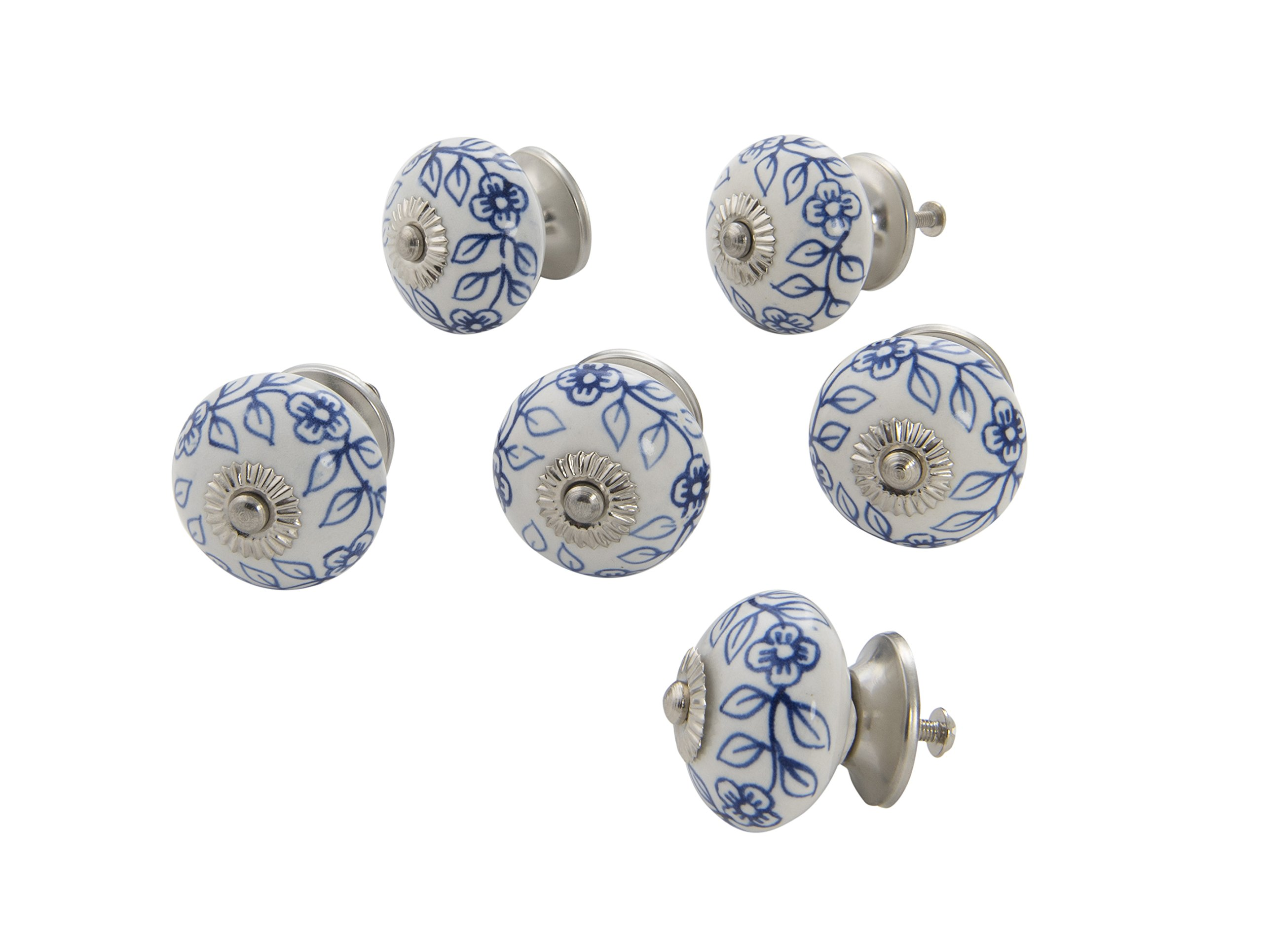 Dritz Home 47049A Ceramic Delft Ball Knob Handcrafted Knobs for Cabinets & Drawers