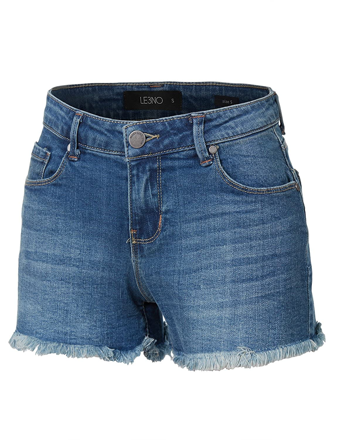 LE3NO Womens Stretchy Vintage Distressed Denim Jean Shorts with Pockets L3NWD2440A