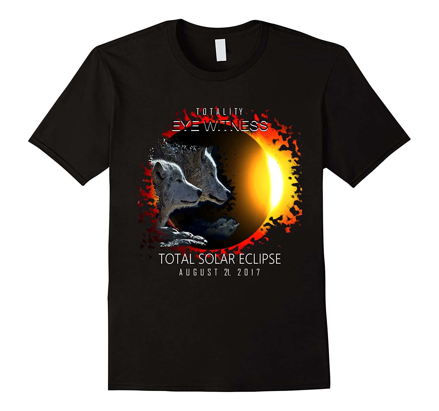 Cool Wolves watching the Total Solar Eclipse Wolf T Shirt-TH