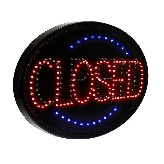 Alpine Industries Señal LED abierta/cerrada, ovalada de 23 x ...
