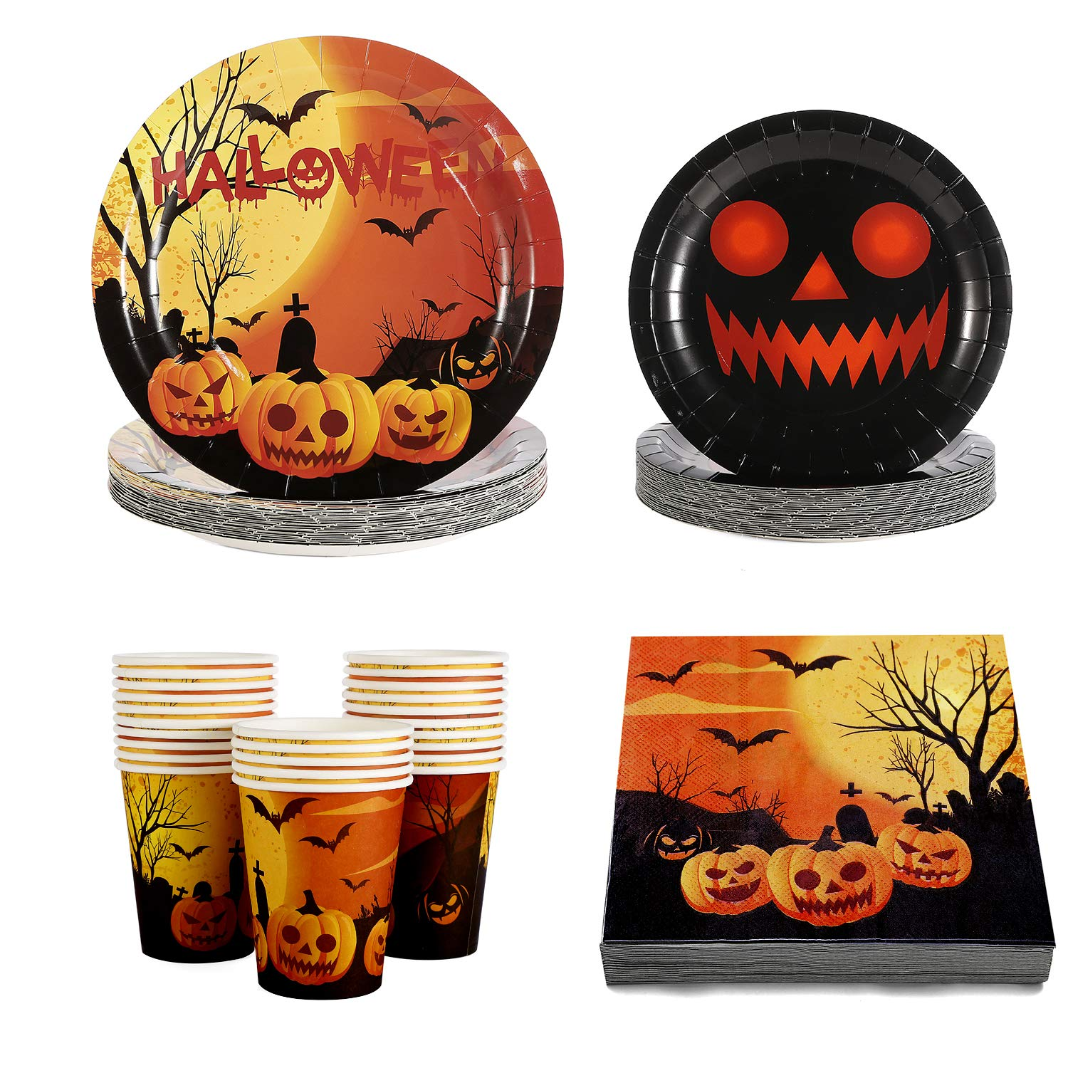Halloween Plates Cups Napkin Disposable Tablerware Serve 25 for Halloween Pumpkin Party Supplies by Gatherfun