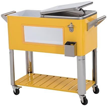 Sunjoy 80 Qt Patio Cooler with LED Lights-Yellow, Yellow