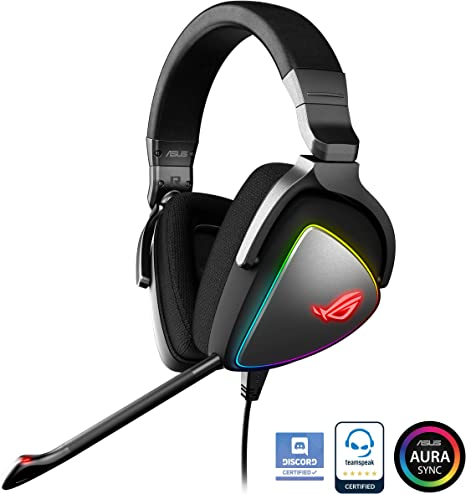 ASUS ROG Delta RGB Gaming Headset with Hi Res ESS Quad DAC, Circular RGB Lighting Effect and USB C Connector for PCs, Consoles and Mobile Gaming