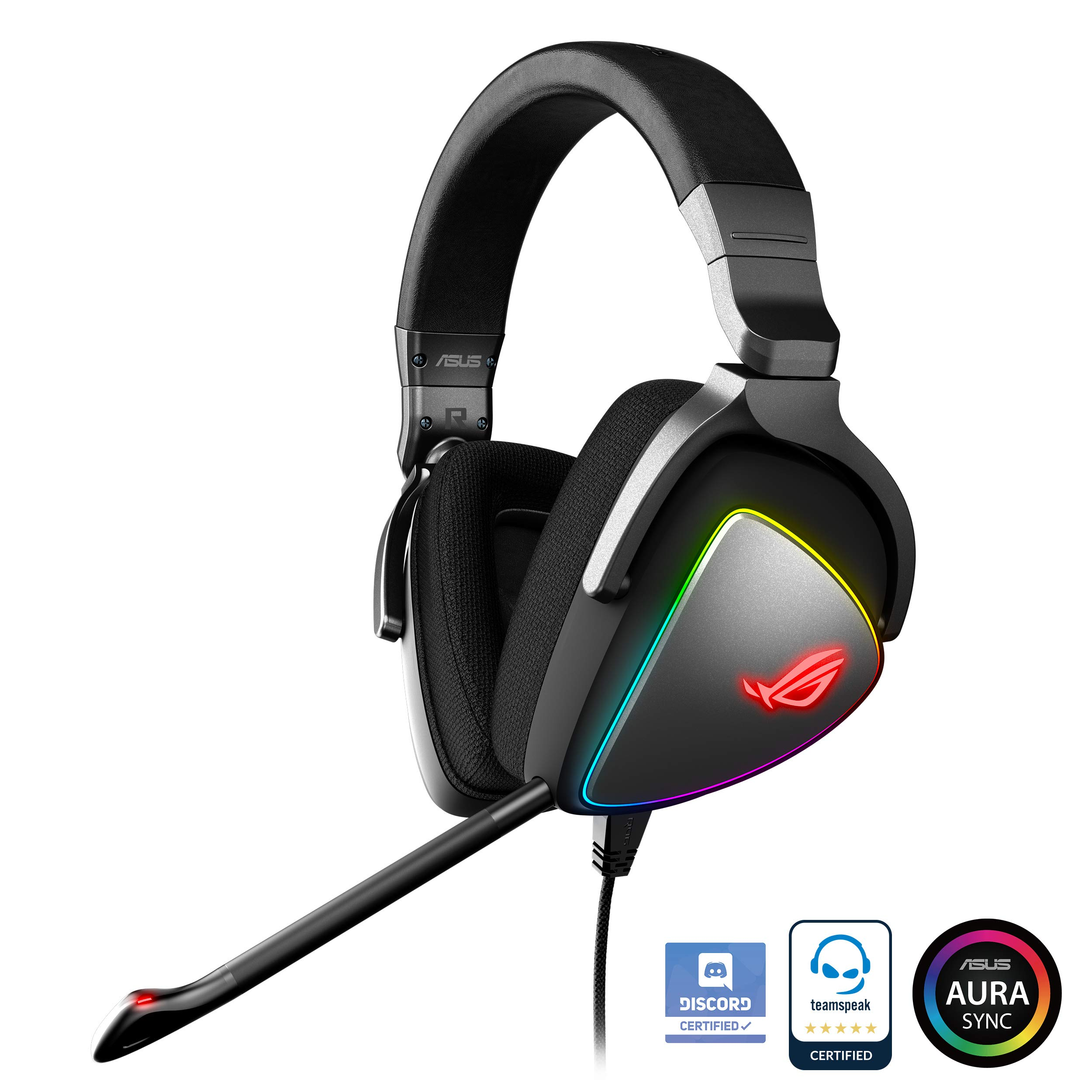 ASUS ROG Delta USB-C Gaming Headset for PC, Mac, Playstation 4, Teamspeak, and Discord with Hi-Res ESS Quad-DAC, Digital Microphone, and Aura Sync RGB Lighting by ASUS