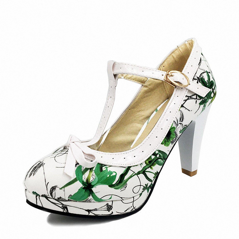 Drawingo Plus Size 32-48 Women Summer High Heels Shoes Woman T-Strap Bowknot Pumps Lady Platform Daily Work Dress Footwear Green Flower 9.5