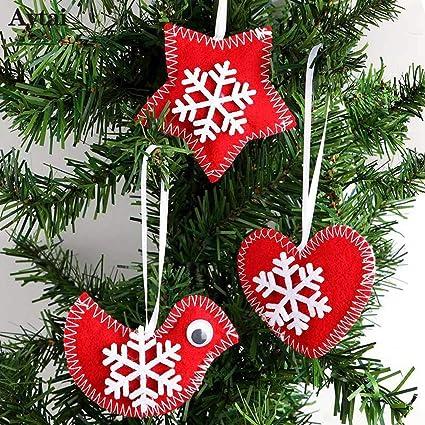 tsg global 3pcs red bird heart star felt christmas tree hanging ornament felt christmas tree decorations - Red Bird Christmas Tree Decorations