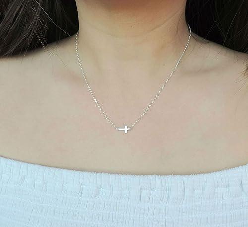 Sterling Silver Cross Necklace DiamondJewelryNY Sideway Cross