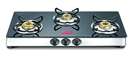 Prestige Marvel Plus Stainless Steel 3 Burner Gas Stove, Black