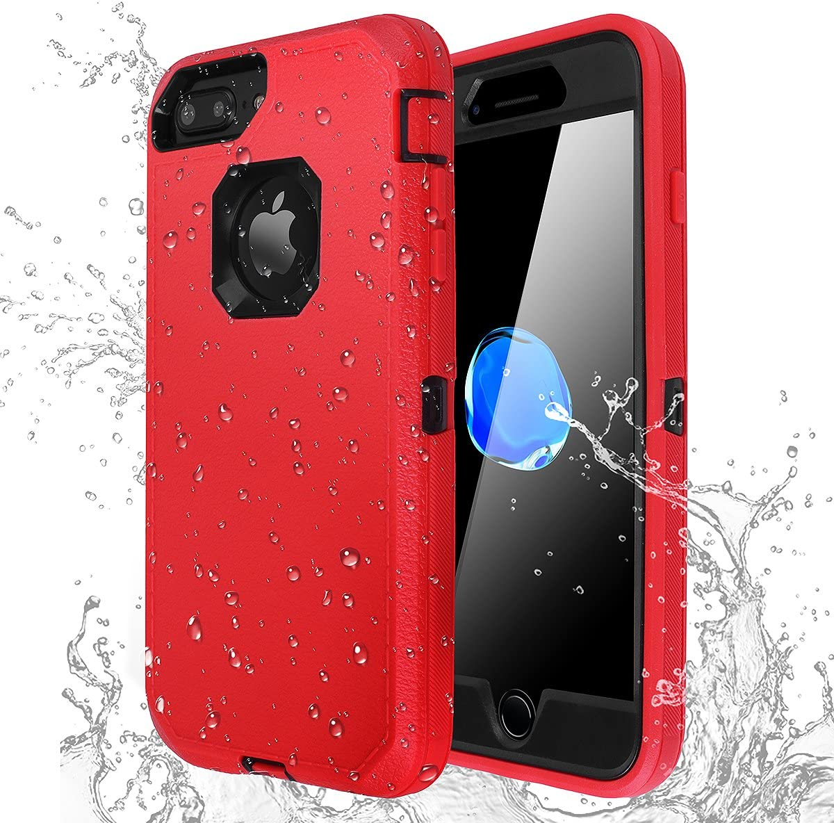 AICase iPhone 7 Plus/8 Plus Shockproof Case, [Heavy Duty] [Full Body] Built-in Screen Protector Water-Resistance Cover for Apple iPhone 8 Plus/7 Plus/6 Plus/6s Plus (Black+Red)