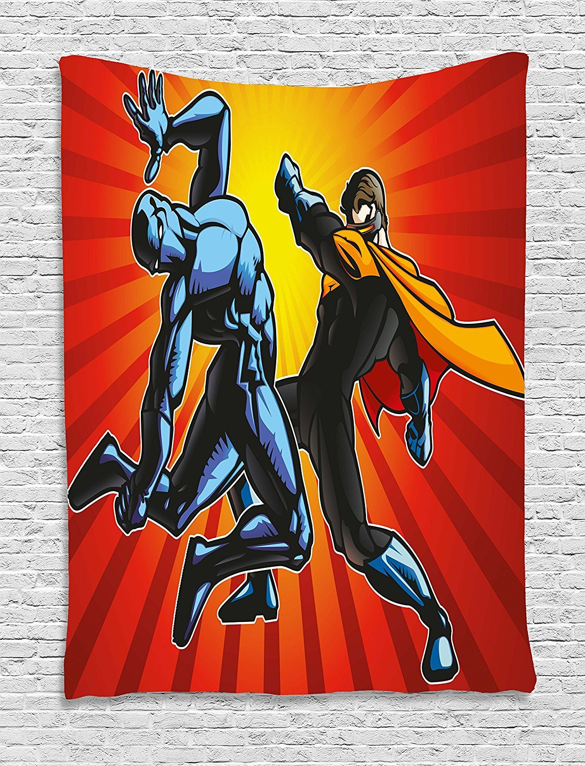 asddcdfdd Superhero Tapestry, Hero and Ninja in Battle Combat Fighters Villain Punching Fist Fantasy Print, Wall Hanging for Bedroom Living Room Dorm, 60 W X 80 L Inches, Multicolor