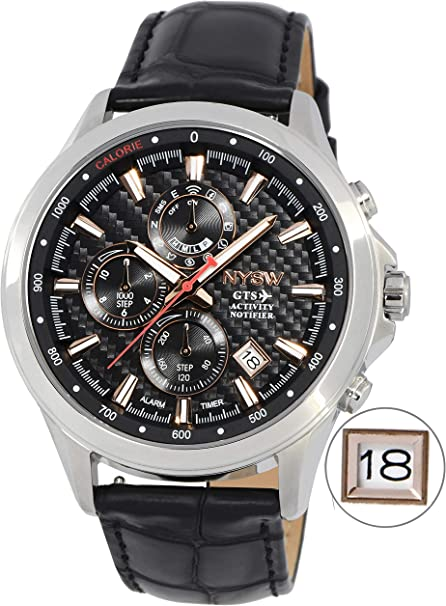 NYSW World Best Thinnest Luxury Smart Watch Analog Atomic Fitness Activity Tracker Hybrid Black Smartwatch Reloj for Men Hombre Women Perpetual ...