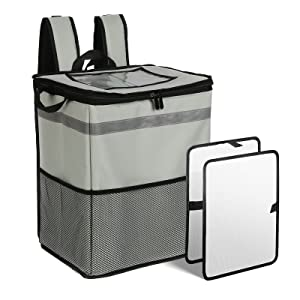 cherrboll Thermal Insulated Food Delivery Backpack with 2 Dividers & Side Pockets, Reusable Cooler Bag for Uber Doordash Postmates Camping Beach Groceries