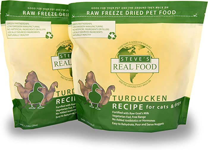 Steve's Real Food Freeze-Dried Raw Food Diet for Dogs and Cats, 2-Pack, Turducken Recipe (Turkey & Duck), 1.25 lbs in Each Bag, Made in The USA, Pour and Serve Nuggets, Vegetarian Fed & Free Range