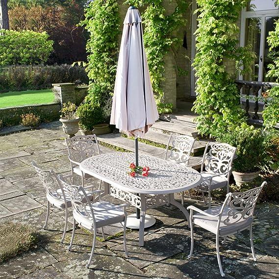 Gran lujo al aire libre muebles de jardín conjunto ornamentales fundición de aluminio mesa ovalada 6 plazas + 6 sillas + cojines + Parasol + Base Taupe: Amazon.es: Jardín