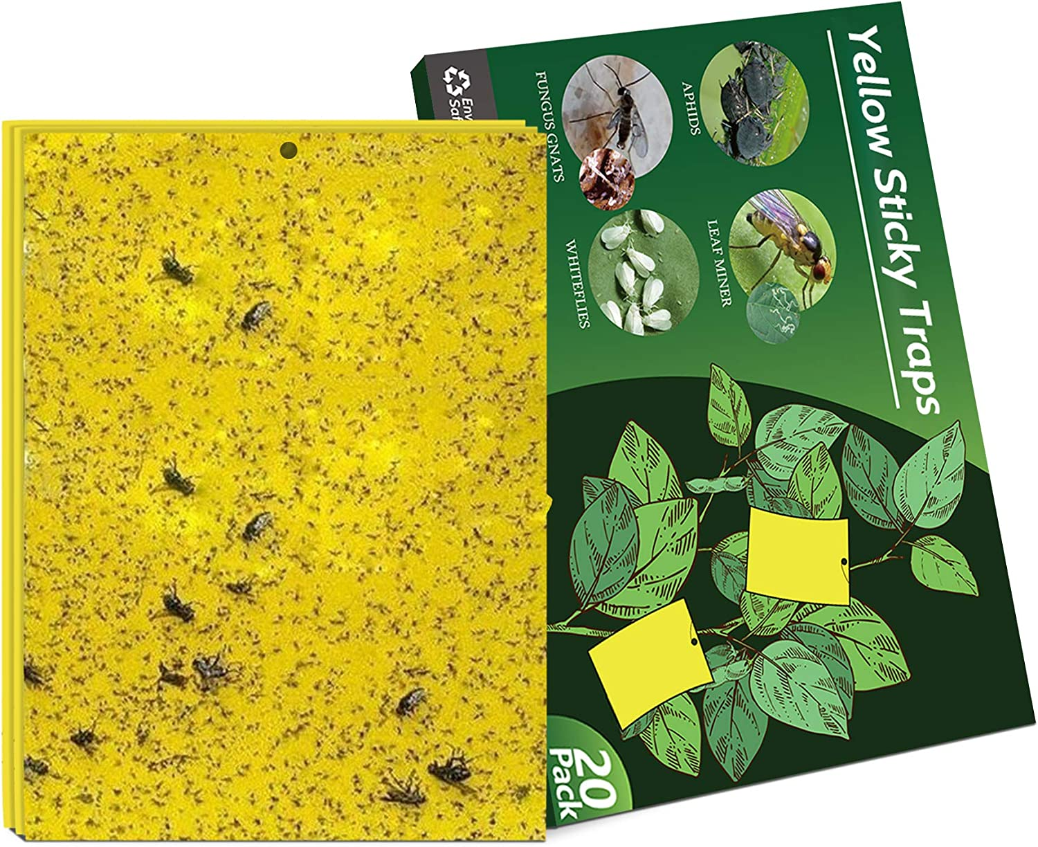 Negarly 20-Pack Dual-Sided Yellow Sticky Traps for Flying Plant Insect Like Fungus Gnats, Whiteflies, Aphids, Leaf Miners, Thrips, Other Flying Plant Insects - 6x8 Inches, Twist Ties Included