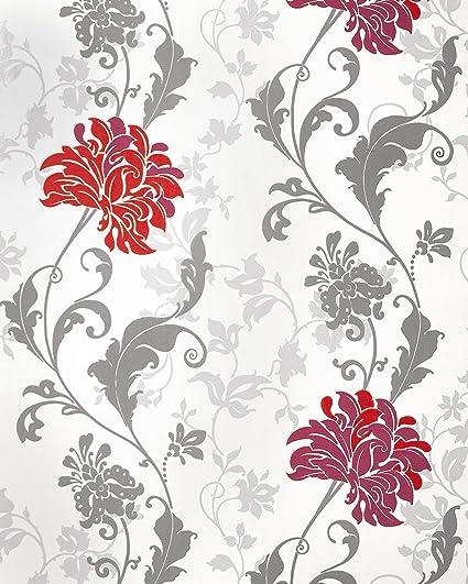 Wallpaper flowers edem 833 25 luxury floral design flowers leaves wallpaper flowers edem 833 25 luxury floral design flowers leaves floral wallcovering red bordeaux grey mightylinksfo