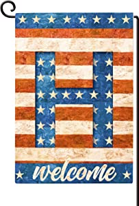 """Agantree Art American Patriotic """"H"""" Monogram Letter Small Garden Flag Waterproof Double Sided Yard Outdoor Decorative 12 x 18 Inch"""