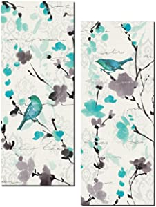 Beautiful Teal and Gray Watercolor-Style Floral and Bird Print Set; Two 8x18in Poster Prints