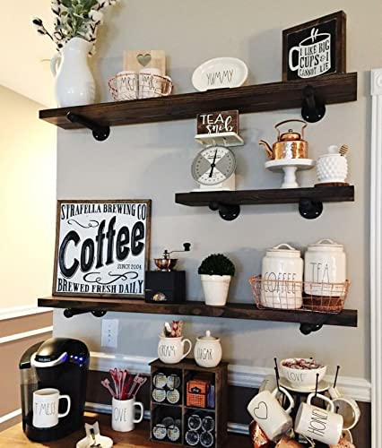 Rustic Floating Shelves - Industrial Shelving - Floating Wall Shelf - Wood Floating  Shelves - Wooden