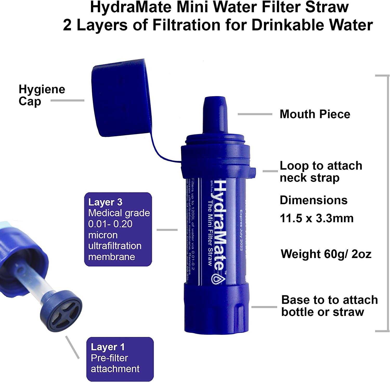 F/ácil de Usar HydraMate Pajilla Filtradora de Agua Elimina Bacteria Protozoos y Metales Pesados con Membrana de Carb/ón y UF /¡con Botella Plegable y M/ás!/… Capacidad de1200L//1500L Sin BPA