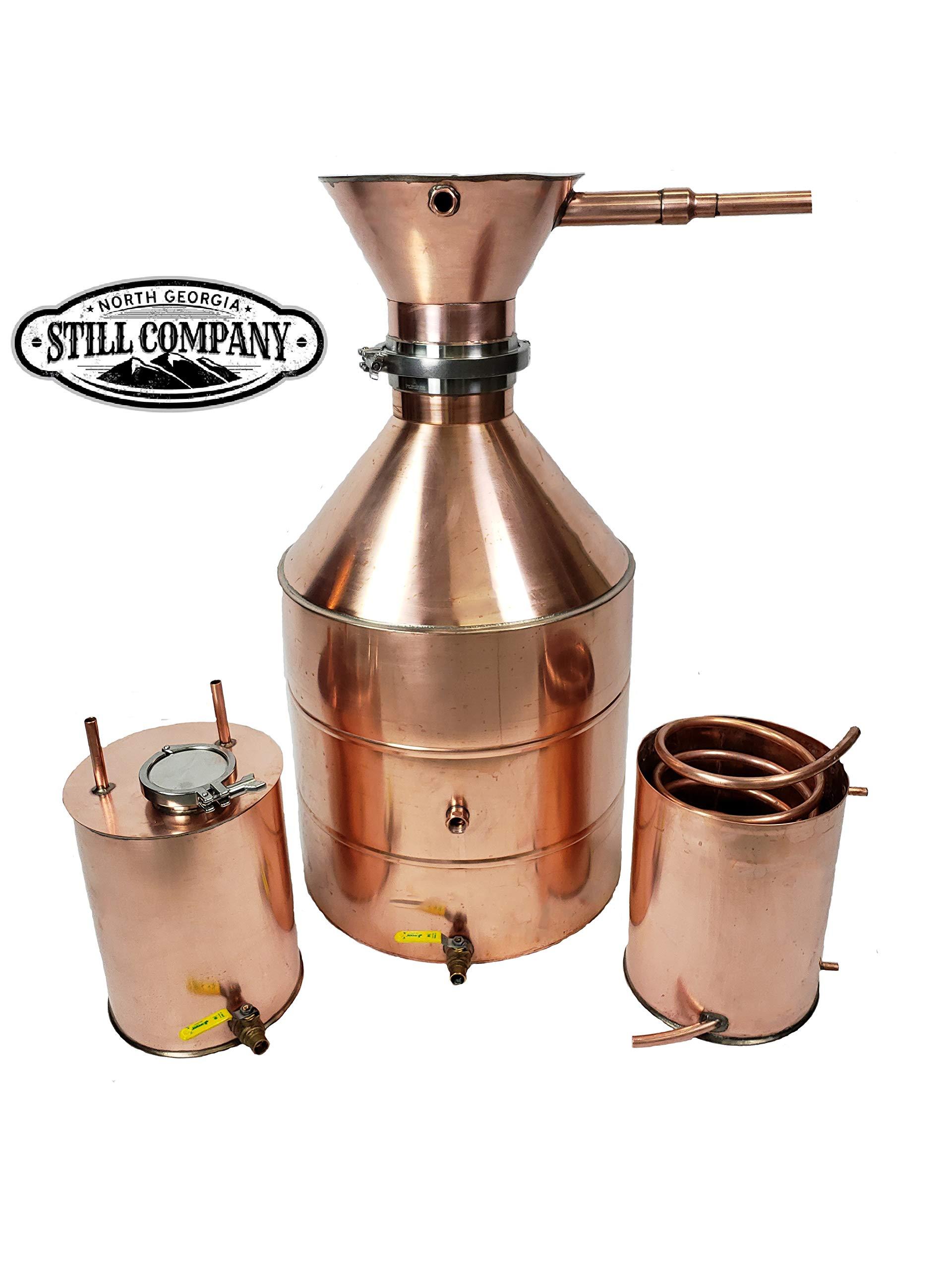 20 Gallon Copper Moonshine Whiskey Still with Large Tri Clamp Cap & Ball Valve Drain, 3 Gallon Worm, 3 Gallon Thumper with 3 Inch Fruit Port, 1/2 OD Copper Tubing by North Georgia Still Company