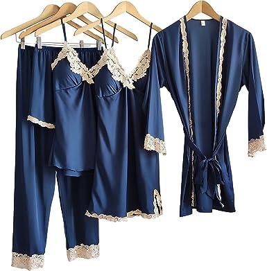 Laura Lily - Pijamas Mujer de Seda Satén y Color Liso con Encaje Conjunto de 5 Piezas
