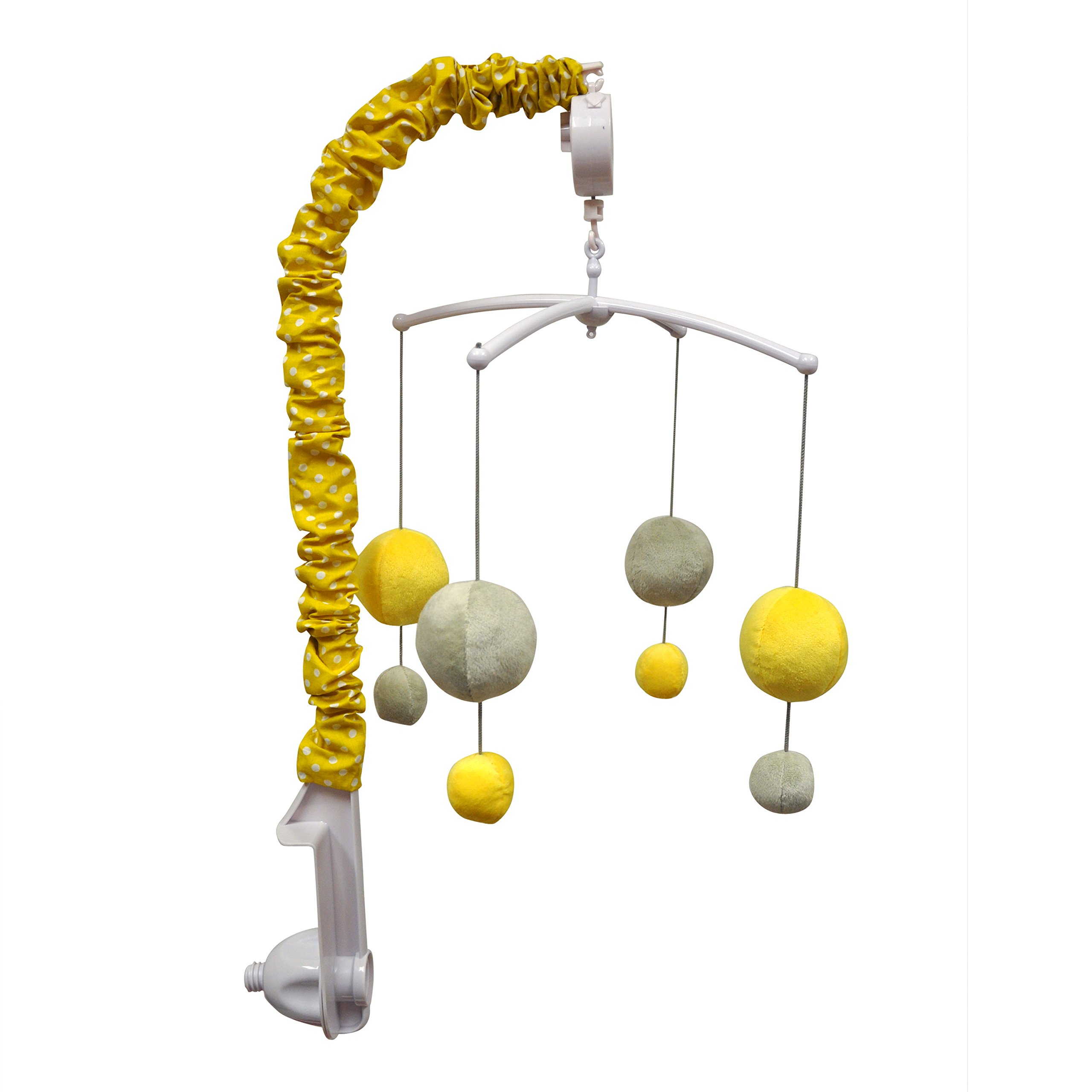 Bacati - Dots/pin Stripes Grey/yellow Musical Mobile