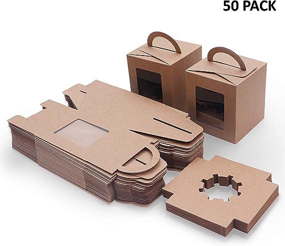 Caja Pasteleria Marrón Kraft (Pack de 50) - Caja Carton Desechable ...