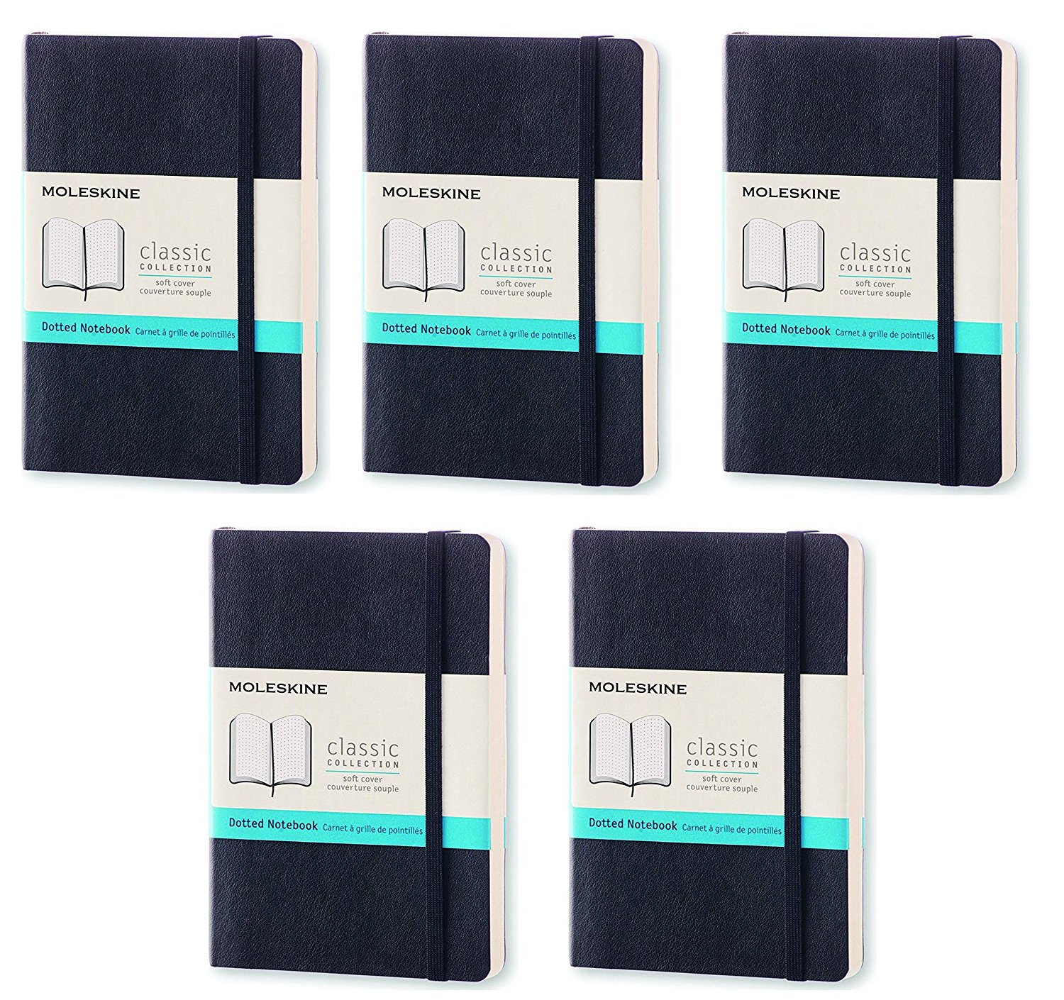 Pack of 5 Moleskine Classic Colored Notebook, Pocket, Dotted, Black, Soft Cover (3.5 x 5.5)