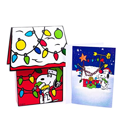 hallmark holiday boxed cards snoopy christmas doghouse 16 christmas greeting cards and 16 envelopes - Snoopy Christmas