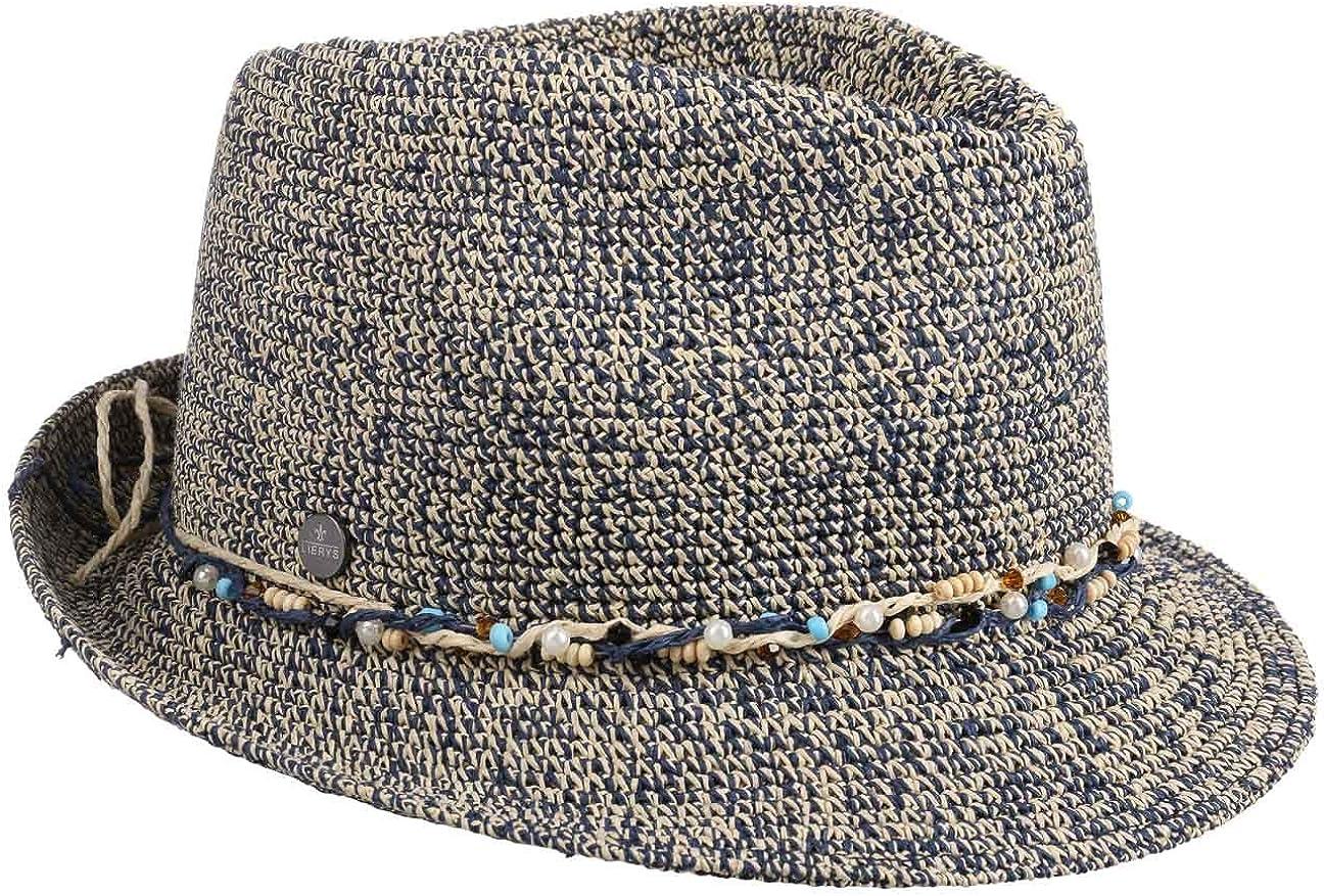 Lierys Sombrero de Paja Cosalia Trilby Mujer - Made in Italy Verano Sol Primavera/Verano