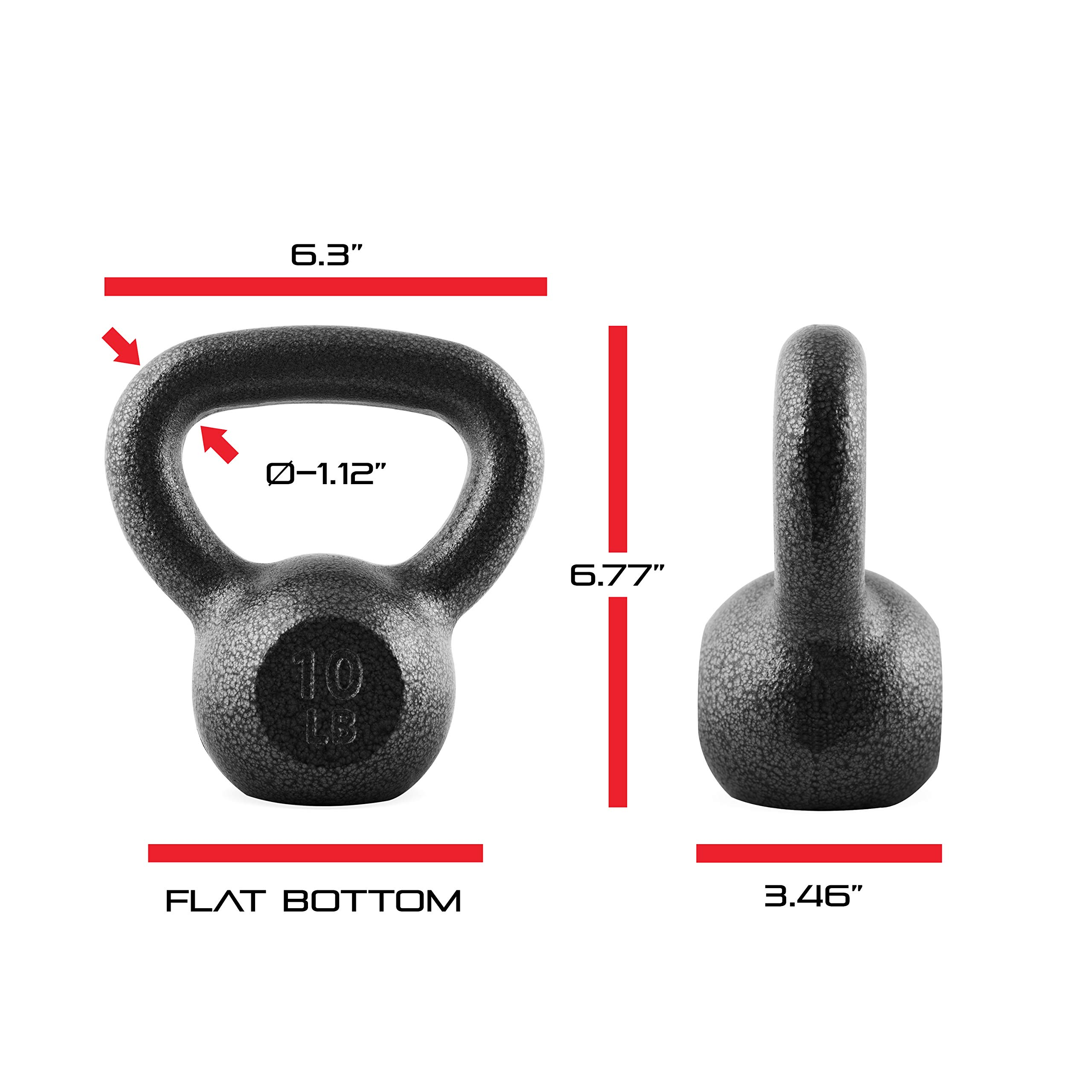 CAP Barbell Cast Iron Kettlebell, Black, 10 lb. by CAP Barbell (Image #4)