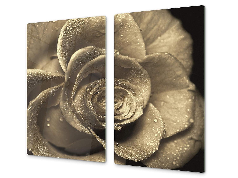 Cubre vitros de cristal templado - Tabla para cortar de cristal – Tabla para amasar y protector de vitro – UNA PIEZA (60 x 52 cm) o DOS PIEZAS (30 ...