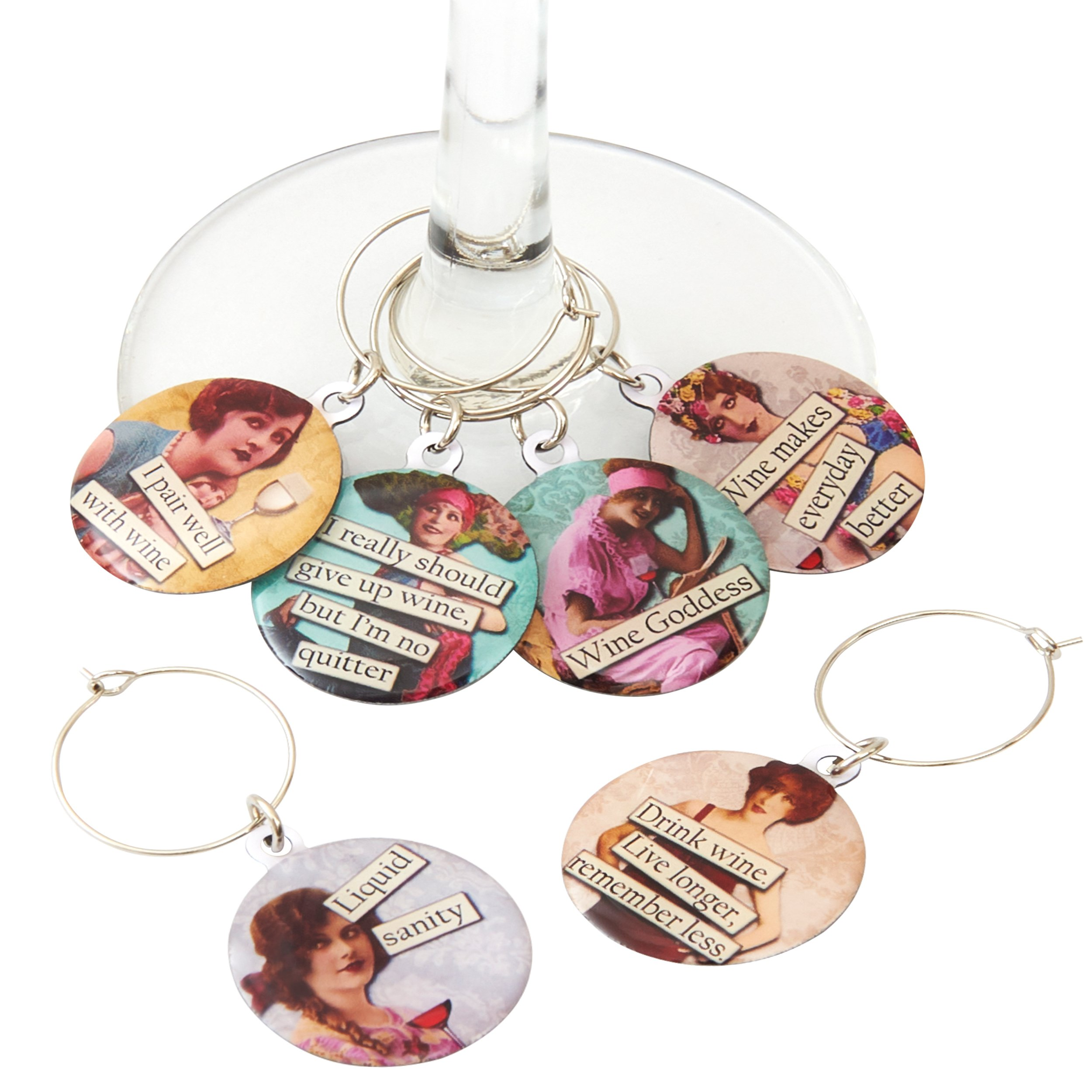 Funny Vintage Women Wine Glass Charms - Set of 6 Wine Tags. Always know which glass is yours with these wine markers! by Savvy Design Store