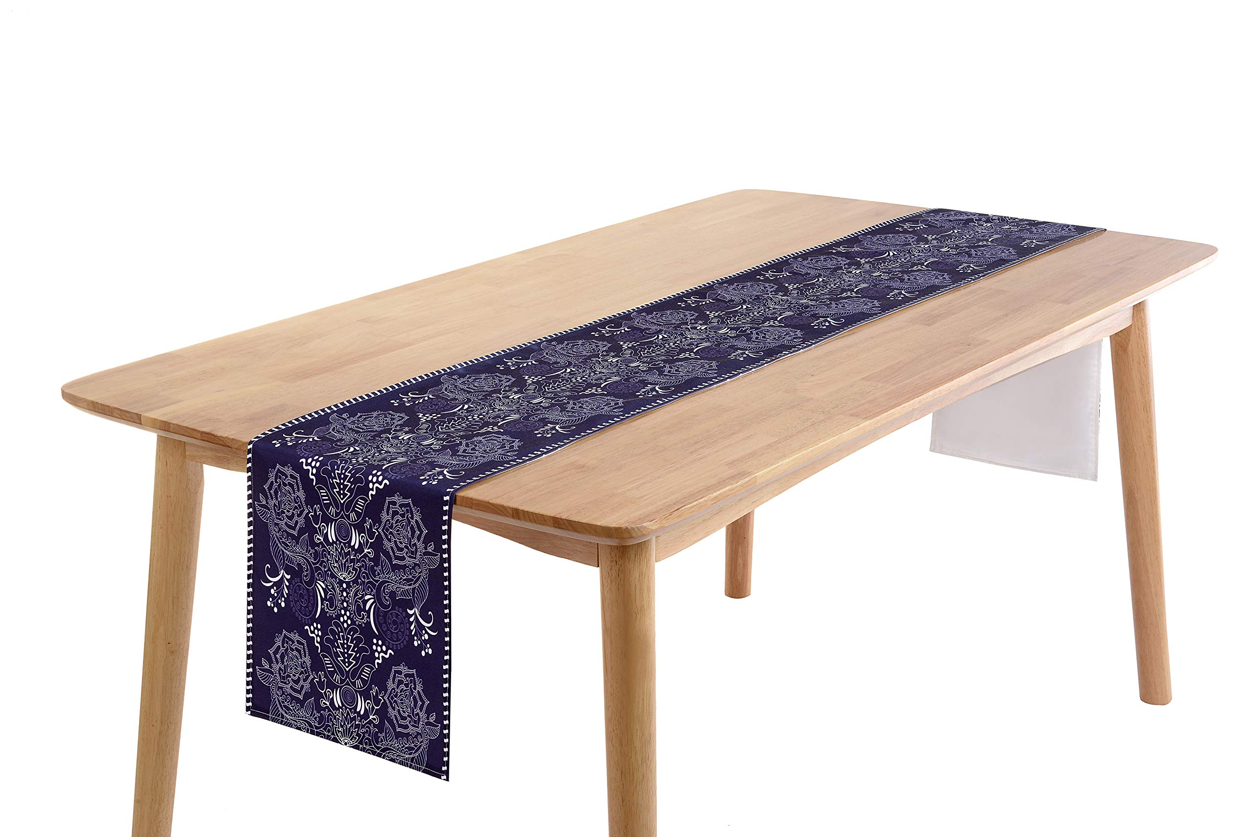 PuTianHome-Decorative Table Runner for Dinning Room, Foyer Table, Dresser Scarf, Parties and Everyday Use-Easy Dry-Indigo Porcelain