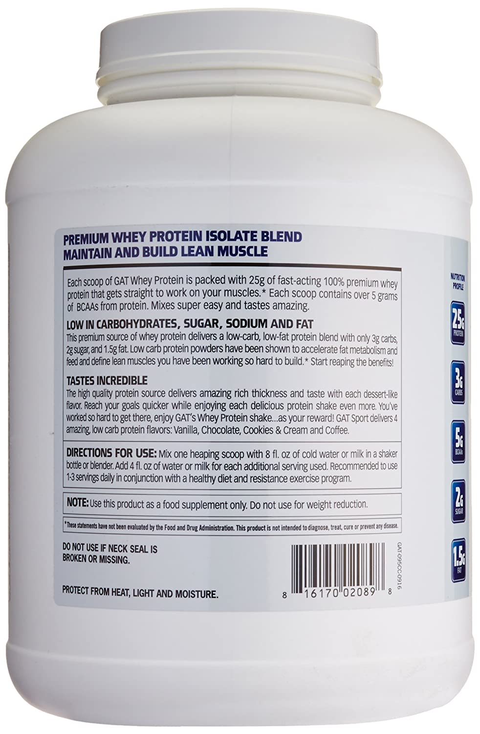 GAT Whey Protein Isolate Blend, Cookies and Cream, 5 Pound