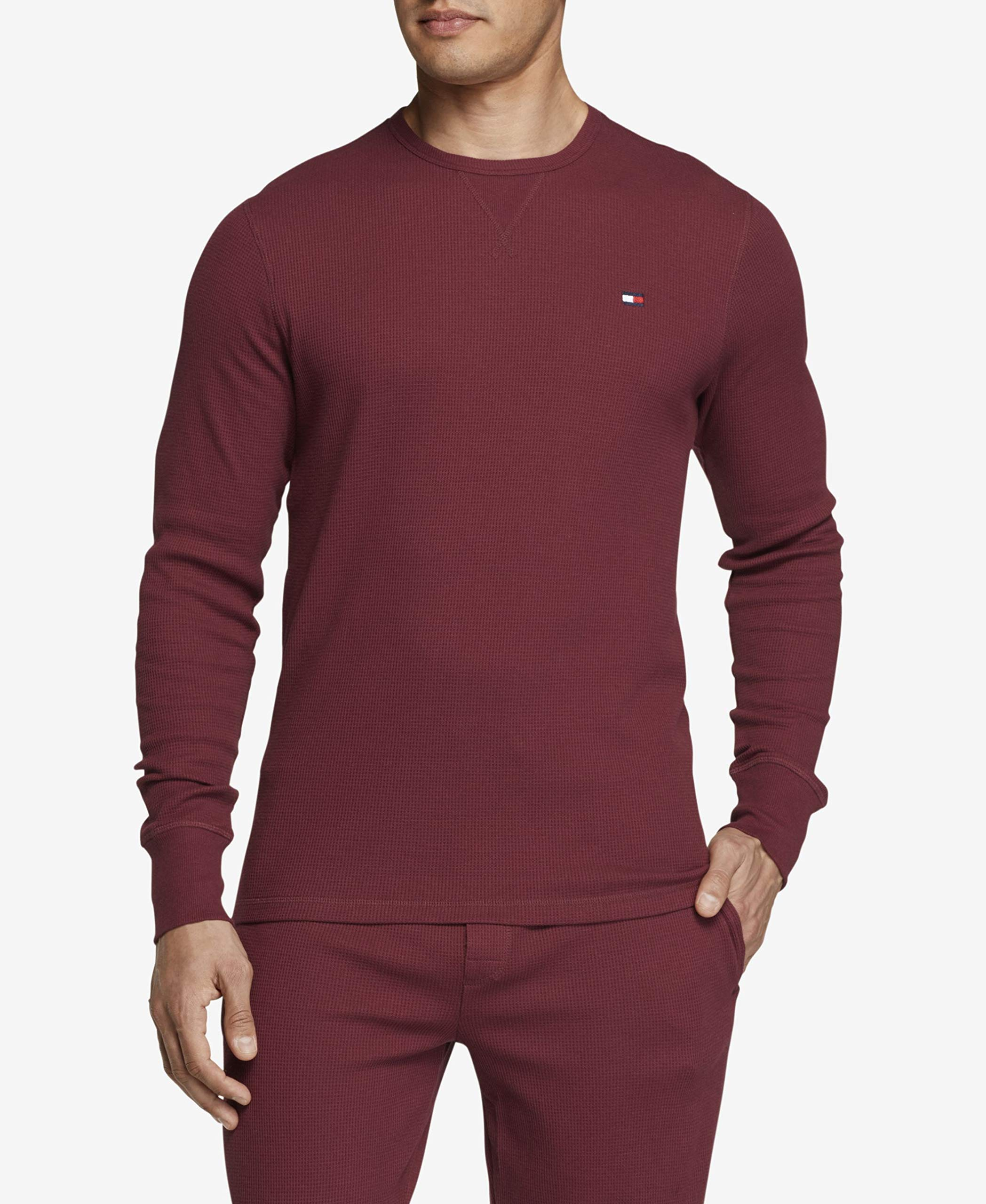 Tommy Hilfiger Men's Thermal Long Sleeve Crew Neck Shirt, Cordovan, X-Large by Tommy Hilfiger