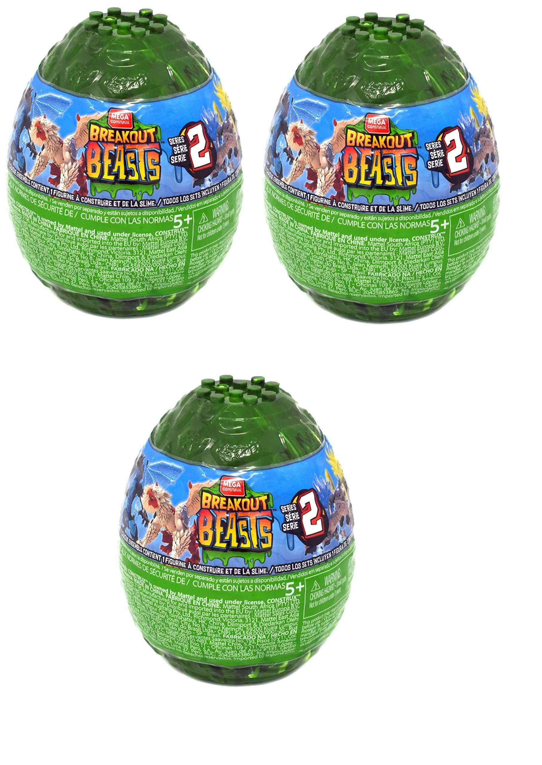 Breakout Beasts Slime Eggs Series 2 (Pack of Three Surprise Eggs) by Mega Brands