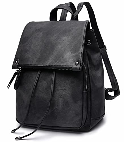 64f364ae04ea Amazon.com  Stylish PU Leather Backpack For Women Lightweight Cute Mini  Backpack For Women Fashion Design Drawstring School Waterproof Rusksack  Black  Shoes