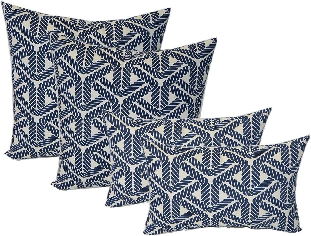 Resort Spa Home Set of 4 Indoor Outdoor Pillows – 17 Square Throw Pillows 11 x 19 Rectangle Lumbar Decorative Throw Pillows – Navy Blue and Ivory Nautical Rope