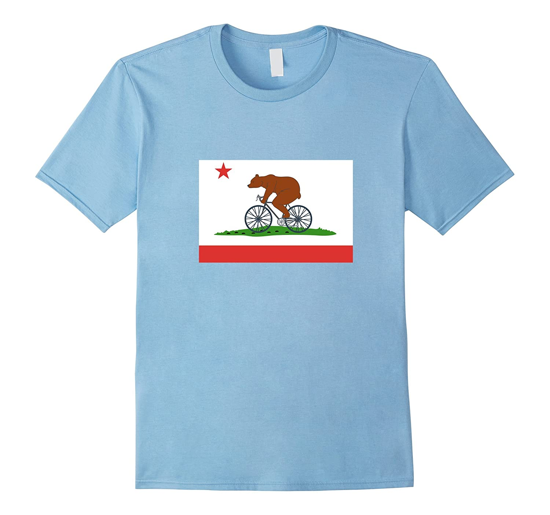 California Bear on a Bike T-Shirt - California Flag Tee-Art