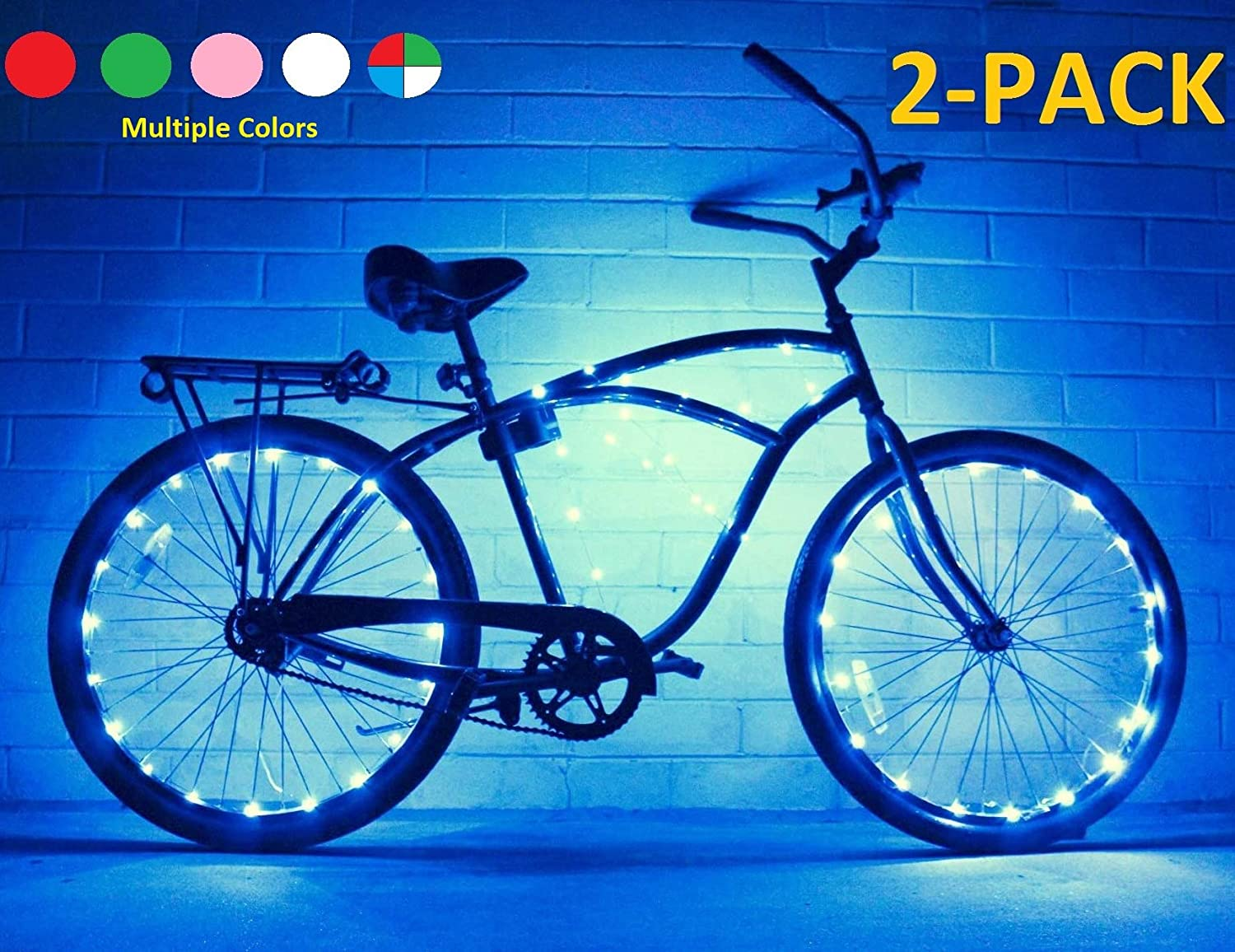 Bike Wheel Lights 2 PACK – Colorful Light Accessory For Bike – Perfect For Burning Man Festivals Blue