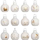 WeRChristmas-Decorazione natalizia con supporto, in plastica, colore: blanco, confezione da 12