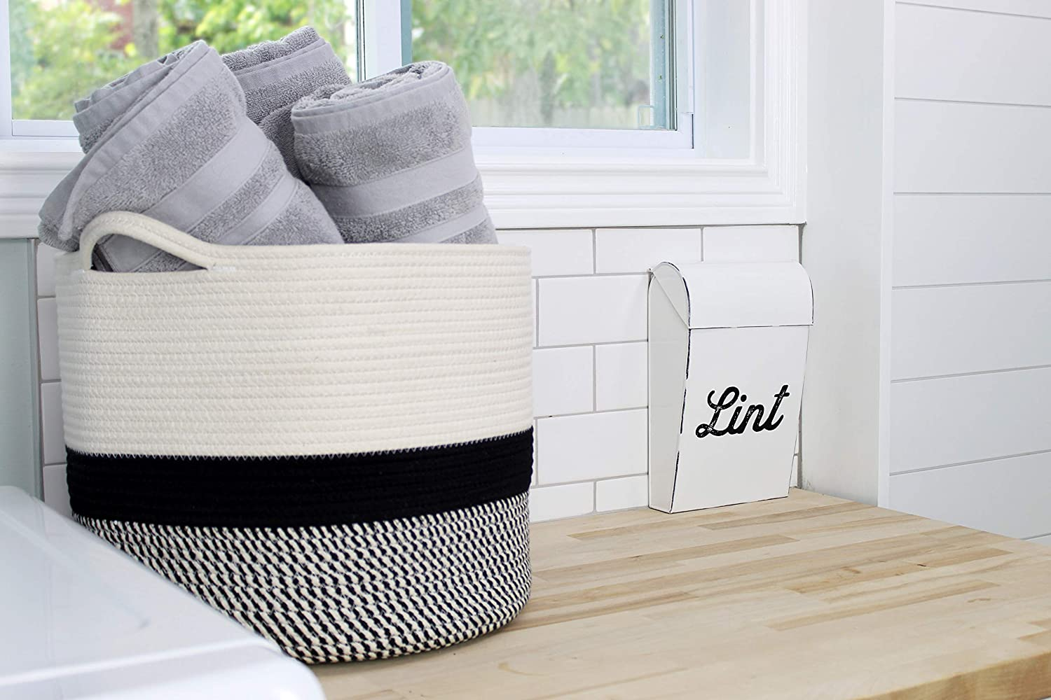 AuldHome Boho Woven Rope Basket Large Black and White Storage Decorative Basket; 13 x 15 x 15 Inches