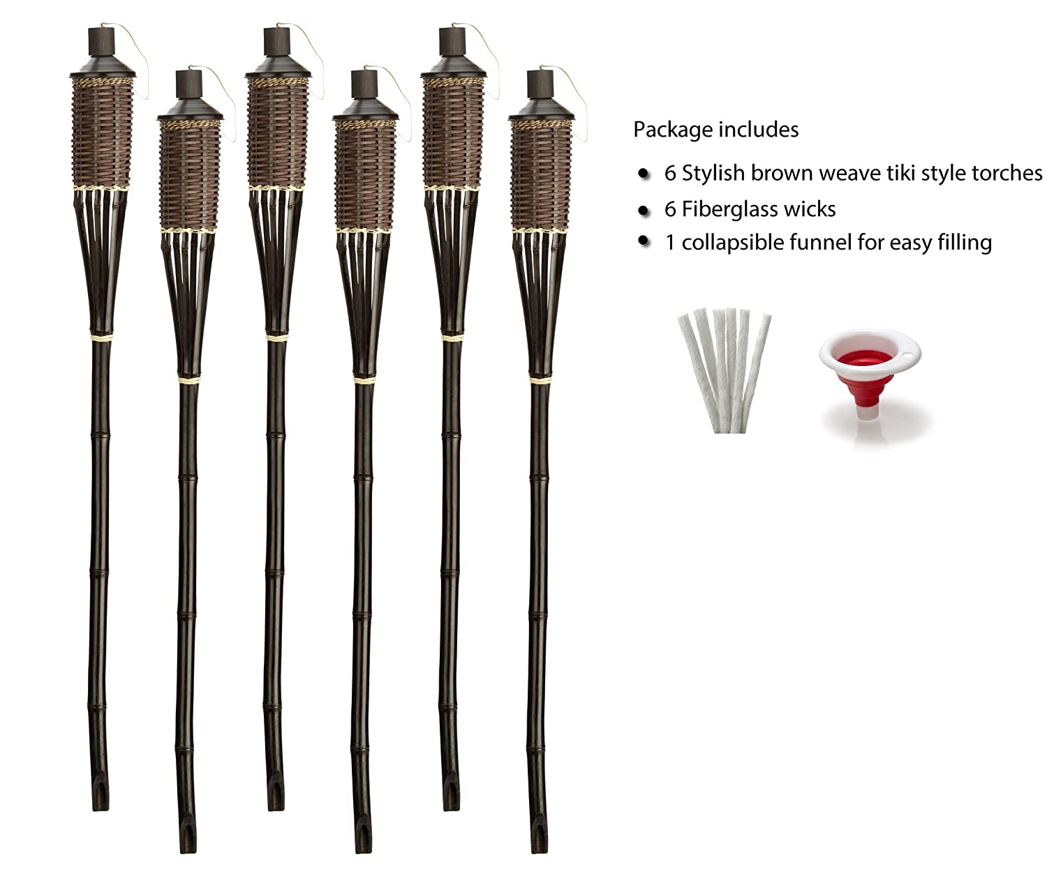 EZ Pour Funnel Included 6 Pack Metal Canisters for Longer Lasting Burn Extra-Large Decorative Torches with Fiberglass Wicks Style Bamboo Torches Stands 59 Tall 16 ounces